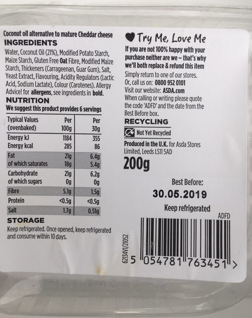 Asda Free From ingredients